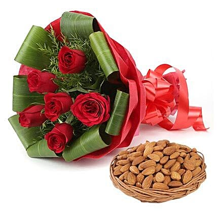 Combo of red roses bouquet and dry fruits:Flowers & Dry Fruits