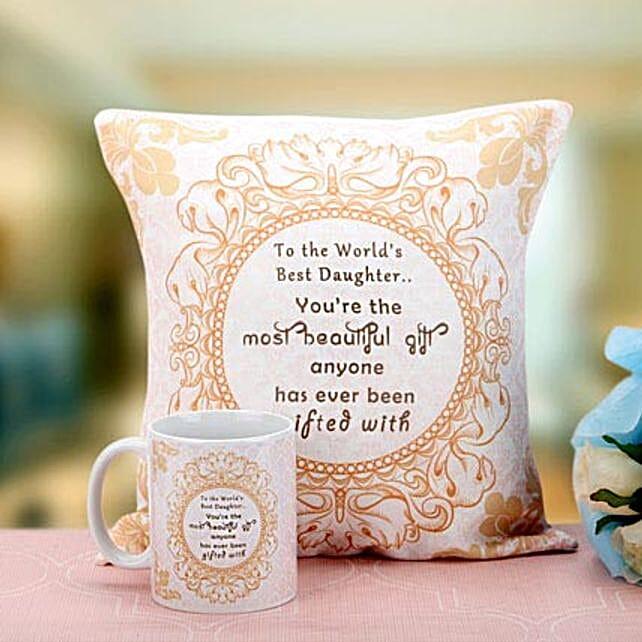 Splendid Beauty-12x12 inches Cushion,1 Beige and White Printed Mug