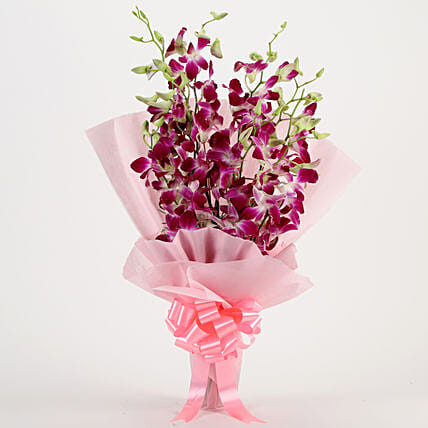 Bunch of 6 purple orchids womens day women day woman day women's day:Wedding Gifts Gwalior