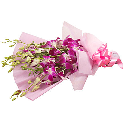 Bunch of 6 purple orchids womens day women day woman day women's day:Wedding Gifts Panchkula