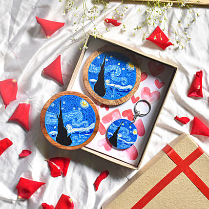 Starry Night Blue Coasters And Keychain Combo