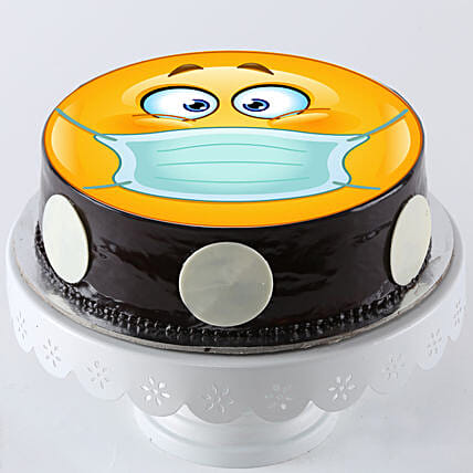 Online Face Mask Printed Cake:Get Well Soon Cakes