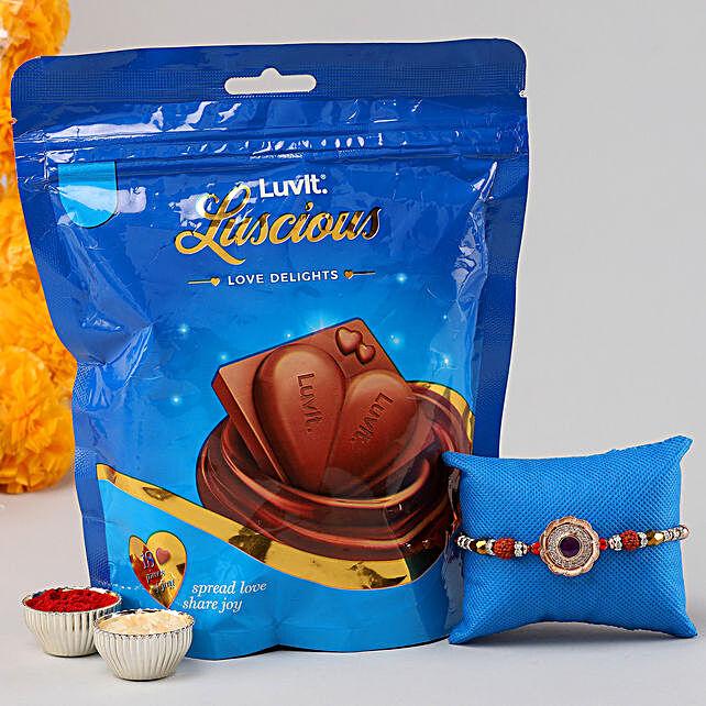 Stone Rudraksha Rakhi & Luscious Chocolates