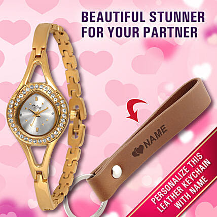 golden watch n card holder for vday:Personalised Accessories