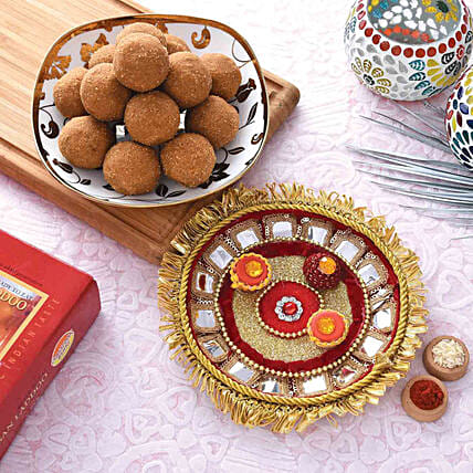 Stunning Red Pooja Thali With Besan Laddu Combo