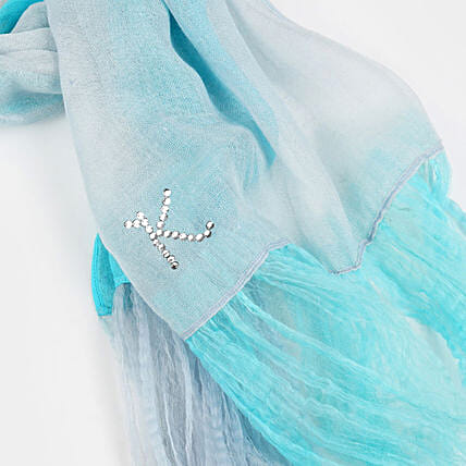 Online Turqish Blue Customised Scarf
