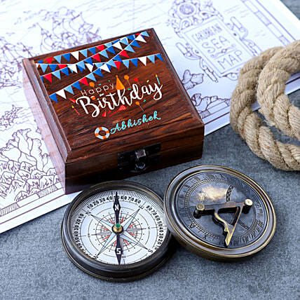 Sun Dial Compass With Personalised Birthday Box:Personalised Antique gifts