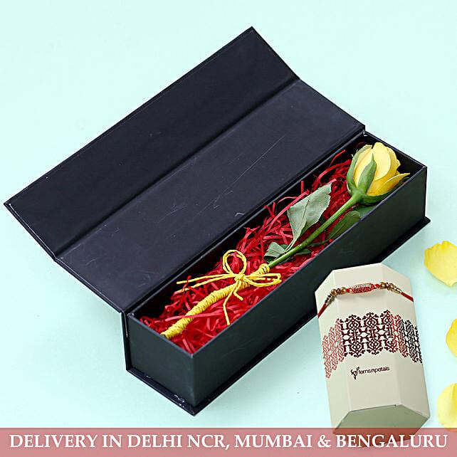 Online Rakhi with Rose Box:Rakhi with Flowers