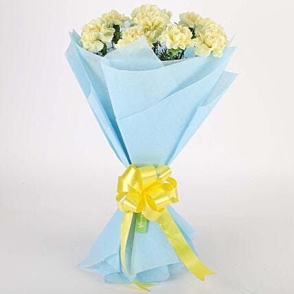 Sundripped Yellow Carnations Bouquet:Valentine Flowers Hyderabad