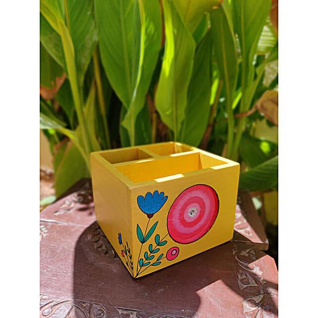 Yellow Wooden Organizer Box