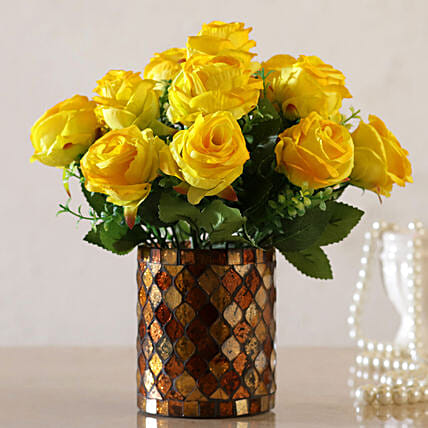 Yellow Artificial Flowers in Vase