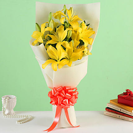 Sunshine - Bunch of 6 Yellow Lilies in a paper packing.