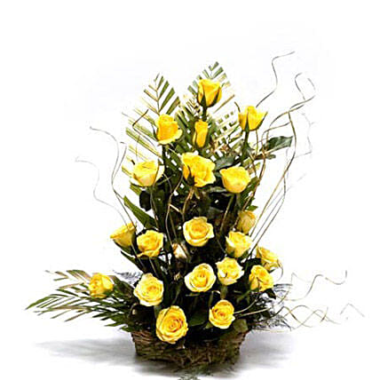 Sunshiny Days - One sided Basket Arrangement of 20 Yellow roses with dry sticks.