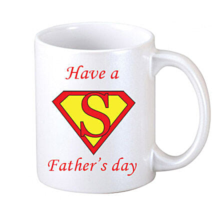 Super Fathers Day Coffee Mug-White Coffee Mug with message Have a Super Fathers Day printed on it