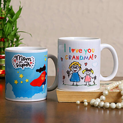 Super Mom And Grandma Mug Combo Hand Delivery