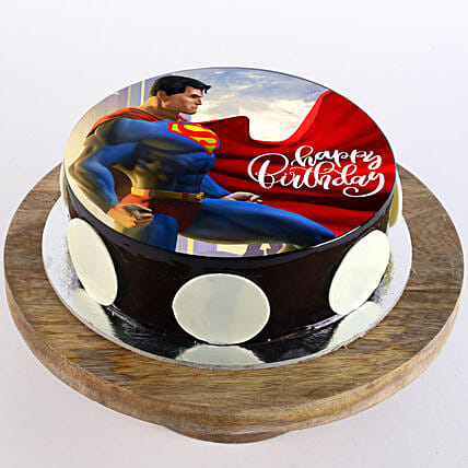 Online superman photo cake for kid:Superhero Birthday Cakes