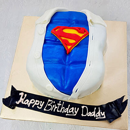 OnlineSuperman Special Truffle Fondant Cake