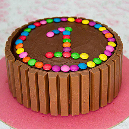 Gems Decorated Kit Kat Cake for First Birthday 1kg