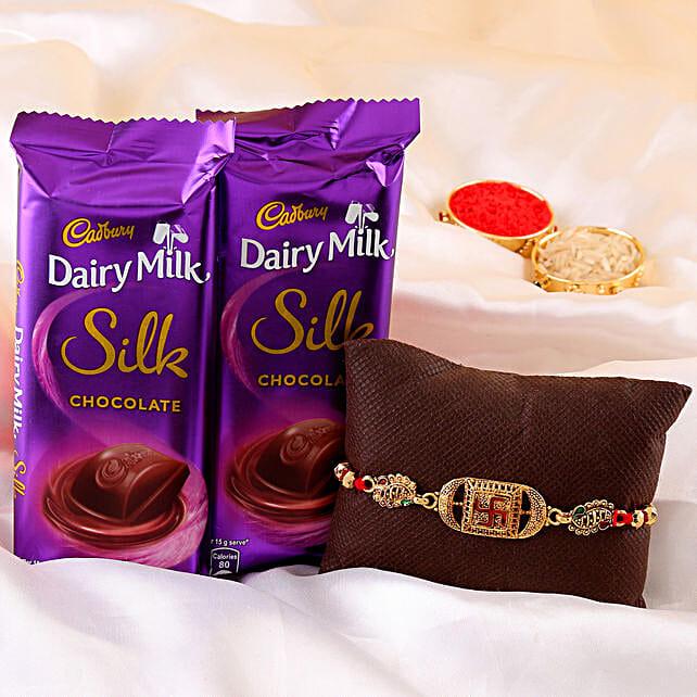 Swastik Rakhi & Dairy Milk Silk Combo online:Buy Ethnic Rakhi