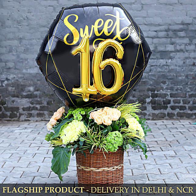 Sweet 16 Balloon And Beautiful Flowers Arrangement