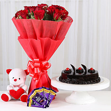 Sweet Combo For Sweetheart - Bunch of 15 Red Roses in paper packing With 6inch Soft toy, 500gm Truffle & 5 cadbury  (14gm each).:Soft Toys For Kiss Day