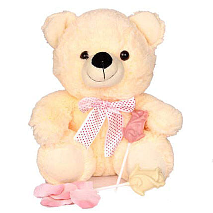Plushy and Sweet Love-10 inches teddy bear,2 rose shaped white chocolate lollipops:Propose Day Soft Toys