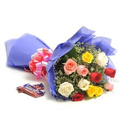 Sweet Mix Roses - Bunch of 12 Mix colour roses in paper packing with 2 Fruit N Nut Chocolates 42gm each.