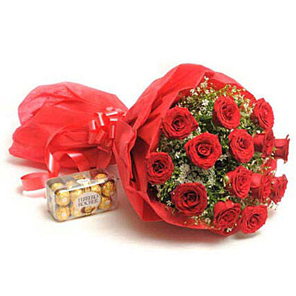 Sweet N Beautifyl - Bunch of 15 Red Roses paper packing with 200gm Ferrero rocher chocolate box.