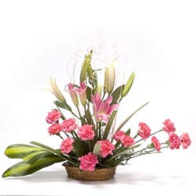 Sweet Pink Basket - Basket Arrangement of 15 Carnations 4 Lilies.