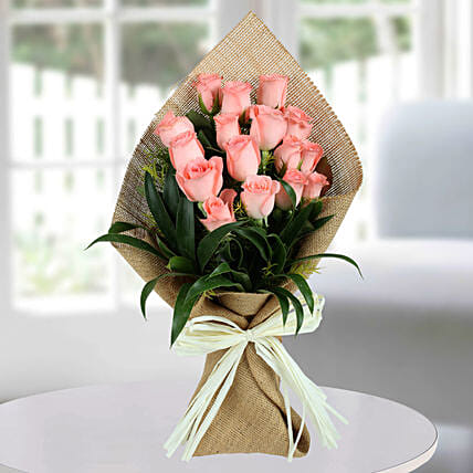 Pink Rose Flower Bunches:Anniversary Flower Bouquet