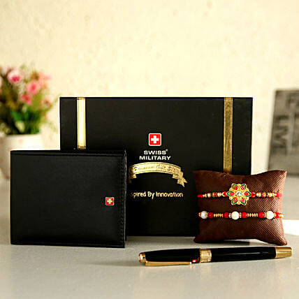Online Wallet And Pen With Rakhi Set