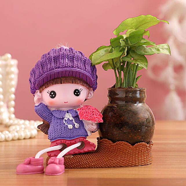 Syngonium Plant In Purple Cap Girl Glass Vase