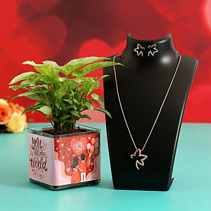 Syngonium Plant In Sticker Vase & Jewellery Set Hand Delivery
