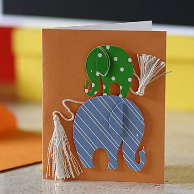 Tassel Tail Elephant Greeting Card:Greeting Cards