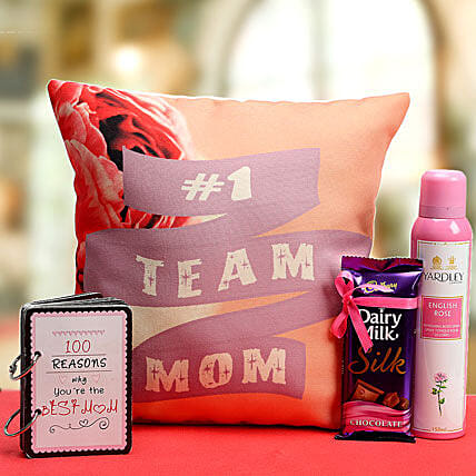Team Mom Hamper-1 12x12 inch team mom cushion,60 gram dairy milk silk,150 ml of Yardley body spray,100 reasons why you are the best mom booklet
