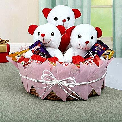 Chocolate and Teddy Basket:Raksha Bandhan Soft toys