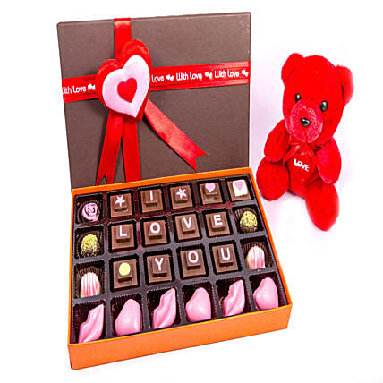 Online Chocolates with Cute Teddy:Romantic Soft toys