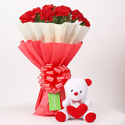 Fresh Carnations and Teddy Bear Online