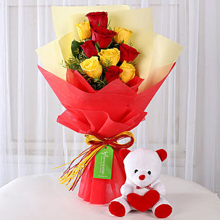 teddy day flower bouquet n teddy online