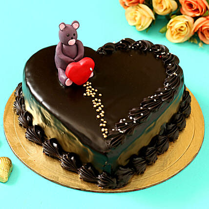 Online Teddy On Top Heart Shaped Designer Cake:Valentine Chocolate Cake