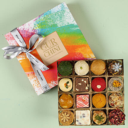 Tempting Exotic Mithai In Multicolored Box 16 Pcs:Gift For Retirement