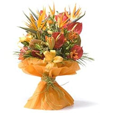 Thank You Bouquet - Bunch of 5 stems of red anthuriums, 5 peach/orange lilies & 5 Birds of Paradise in a non woven paper wrapping.:Send Anthuriums