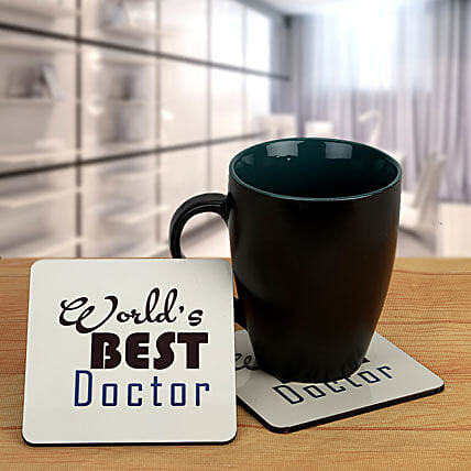 Thank you Doc-Black Coffee Mug and Best Doctor coasters:Coasters