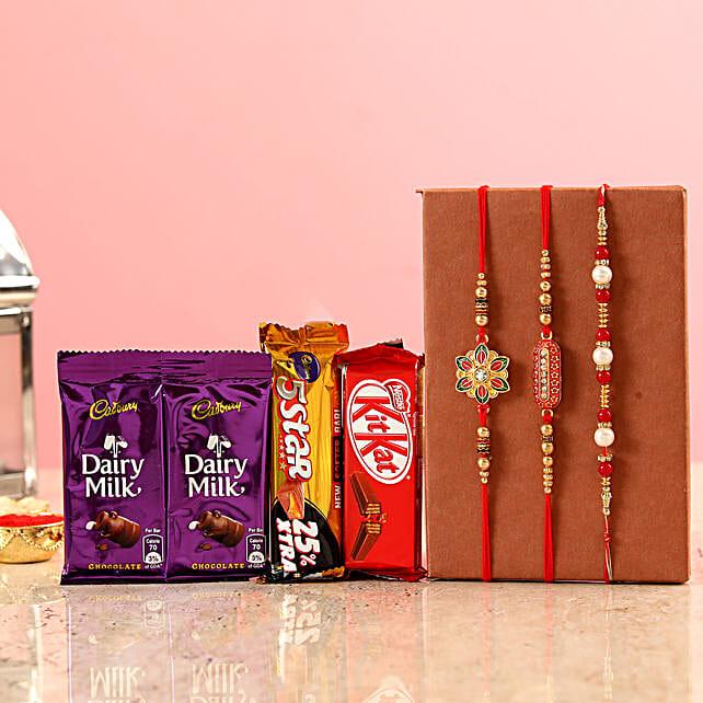 online Three Designer Rakhis & Chocolates Combo