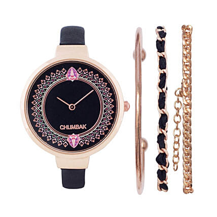 Time Less Joy Black And Gold Watch With Bracelet Set:Watches for Her