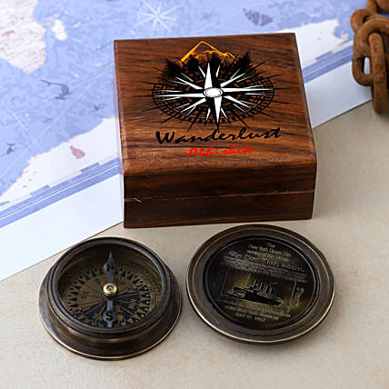 Titanic Compass With Personalised Wanderlust Box:Personalised Antique gifts