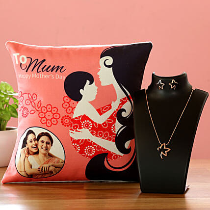 To Mum Personalised Cushion And Necklace Set Hand Delivery:Combo Gifts