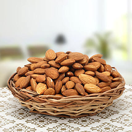 Token of Care-Small Wooden Basket 5 inches,Almonds 500gms