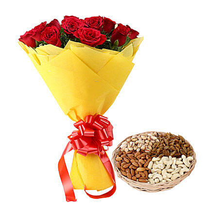 Combo of red roses bunch and mix dry fruits:Flower N Dry Fruit