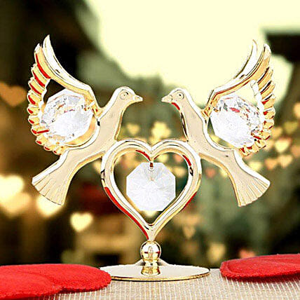 Swarovski double dove with heart